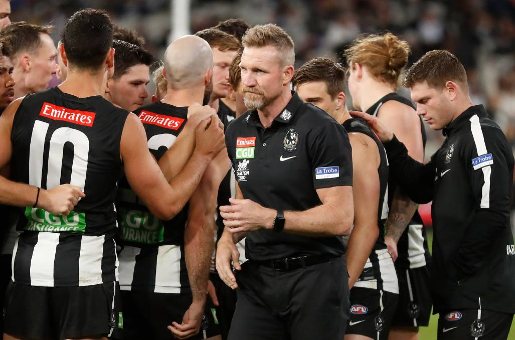 The next month is make or break for Collingwood and its coach, Nathan Buckley. Photo: Michael Wilson/AFL Photos via Getty Images
