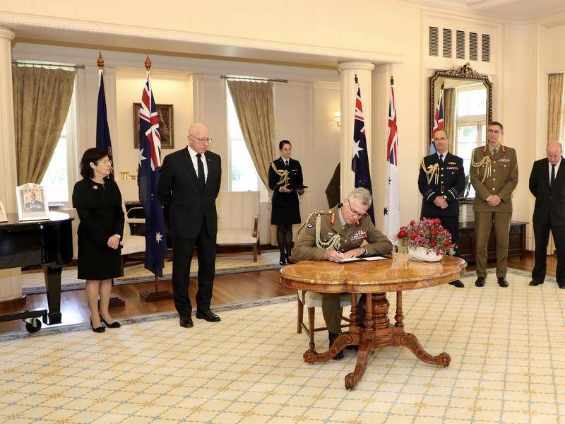Australia's defence chiefs have signed a condolence book in honour of Prince Philip.